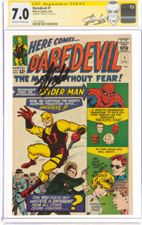 Daredevil #1 (Marvel, 1964) CGC Signature Series: Stan Lee FN/VF 7.0 Off-white to white pages
