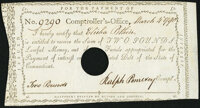 Connecticut Fiscal Paper March 4, 1790 2 Pounds Very Fine-Extremely Fine, HOC