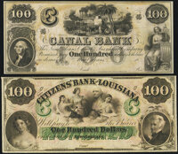 New Orleans, LA- Citizens' Bank of Louisiana $100 18__ Remainder Crisp Uncirculated; New Orleans, LA- New Orleans Can...