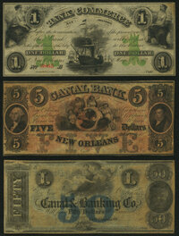 New Orleans, LA- Bank of Commerce $1 May 5, 1862 G42a Remainder Choice About Uncirculated; New Orleans, LA- Canal Ban...