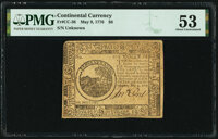 Continental Currency May 9, 1776 $6 PMG About Uncirculated 53