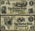 Egg Harbor City, NJ- Egg Harbor Bank $1; $5 1861 Extremely Fine-About Uncirculated; Very Fine. ... (Total: 2 notes)