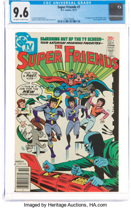 Super Friends #7 (DC, 1977) CGC NM+ 9.6 Off-white to white pages....