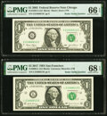Matching Radar Serial Number 21666612 Fr. 1929-G $1 2003 Federal Reserve Note. PMG Gem Uncirculated 66 EPQ; Fr. 3004-L $...