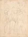 Works on Paper, Diego Rivera (1886-1957). Los revolucionarios, 1928. Pencil on paper. 10 x 7-1/2 inches (25.4 x 19.1 cm). Signed and dat...