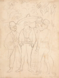 Diego Rivera (1886-1957) Los revolucionarios, 1928 Pencil on paper 10 x 7-1/2 inches (25.4 x 19.1 cm) Signed and dat