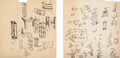Works on Paper, Sol LeWitt (1928-2007). Two Sketches for Art in Process Exhibition at Finch College, 1966. Ink on paper, two sheets. 8-1...