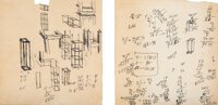 Sol LeWitt (1928-2007) Two Sketches for Art in Process Exhibition at Finch College, 1966 Ink on paper, two sheets 8-1