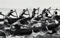 Photographs, Alfred Eisenstaedt (American, 1898-1995). Tribesman paddling cargo of cocoa from beaches to ships, Accra, Ghana, 1953. G...