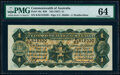 World Currency, Australia Commonwealth of Australia 1 Pound ND (1927) Pick 16c R26 PMG Choice Uncirculated 64.. ...