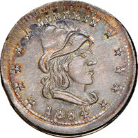 1864 Liberty - Our Army Civil War Token, Fuld-46/335 f, R.8, MS67 NGC. 90% silver, 10% copper, per NGC. Ex: George Fuld...