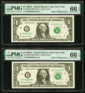 Small Size:Federal Reserve Notes, Radar Serial Numbers 63866836 and 63966936 Fr. 1930-B $1 2003A Federal Reserve Notes. PMG Gem Uncirculated 66 EPQ.. ... (Total: 2 notes)