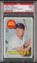Baseball Cards:Singles (1960-1969), 1969 Topps Mickey Mantle (Yellow) #500 PSA Mint 9 - Only Two Higher. ...
