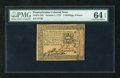 Colonial Notes:Pennsylvania, Pennsylvania October 1, 1773 2s/6d PMG Choice Uncirculated 64EPQ.This is a wonderful example of this lower denomination fro...