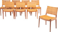 Hans J. Wegner (Danish, 1914-2007) Set of Eight Chairs, circa 1949, Johannes Hansen Teak, cane 30