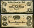 Obsoletes By State:Michigan, Detroit, MI- Michigan Insurance Bank $1; $5 18__ Remainders About Uncirculated.. ... (Total: 2 notes)
