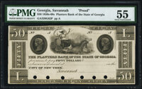 Savannah, GA- Planters Bank of the State of Georgia (Payable in New York) $50 18__ G82 Proof PMG About Uncirculated 55...