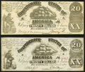 T18 $20 1861 PF-20 Cr. 129 Fine; CT18/107A-1 Counterfeit $20 1861 Fine-Very Fine. ... (Total: 2 notes)