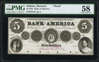 Morocco, IN- Bank of America $5 June 15, 1854 G4 Proof PMG Choice About Unc 58, POCs