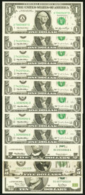 A Selection of $1 (8), $5 (2) and $10 (1) Federal Reserve Notes with Interesting or Fancy Serial Numbers. Fine or Better...