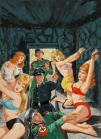 Bruce Minney (American, 1928-2013) A Crypt in Hell For Hitler's Passion Slaves, World of Men cover, Feb