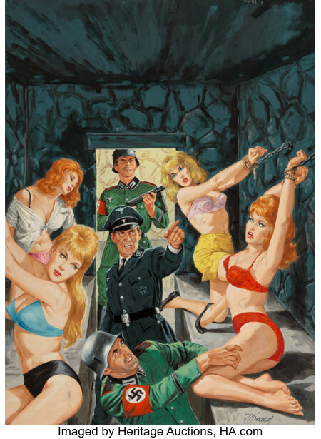 Bruce Minney (American, 1928-2013) A Crypt in Hell For Hitler's Passion Slaves, World of Men cover, February 1965 Goua...