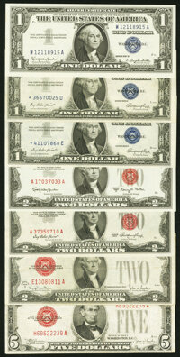 A Selection of Three $1 Silver Certificates (two star notes), Three $2 Legal Tender Notes, and a $5 Legal Tender Note. F...