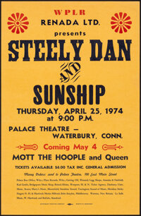 Steely Dan and Sunship, Mott the Hoople and Queen at the Palace Theater (Renada Ltd., 1974). Rolled, Fine/Very Fine. Con...