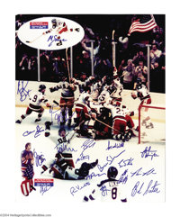 """Hockey 1980 OLYMPIC HOCKEY TEAM 16X20 PHOTO Authenticated. The great """"Miracle On Ice"""" Olympic upset victory mo..."""