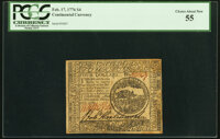 Continental Currency February 17, 1776 $4 PCGS Choice About New 55