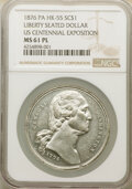 So-Called Dollars, 1876 U.S. Centennial Exposition, Seated Liberty So-Called Dollar, HK-55, Musante GW-918, MS61 Prooflike NGC. White metal, 38...