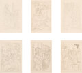 Prints & Multiples, Pablo Picasso (1881-1973). Lysistrata Suite, 1934. Six etchings on Rives BFK paper. 11-1/2 x 9-1/8 inches (29.2 x 23.2 c...