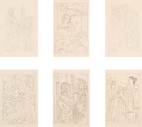 Pablo Picasso (1881-1973) Lysistrata Suite, 1934 Six etchings on Rives BFK paper 11-1/2 x 9-1/8 i
