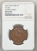 Hard Times Tokens, 1837 Token Centre Market, Low-111, HT-240, W-NY-300-15a, R.1, MS62 Brown NGC. Copper, plain edge, 28mm....