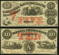 Macon, GA- Georgia Savings Bank $5; $10 June 15, 1863 Fine-Very Fine. ... (Total: 2 notes)