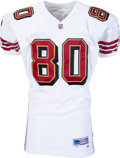 Football Collectibles:Uniforms, 1999 Jerry Rice Game Worn & Unwashed San Francisco 49ers Jersey - Photo Matched to 12/5 vs. the Bengals (9 Receptions, 157 Yar...