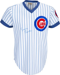 Mid-1980's Ernie Banks Spring Training Worn & Signed Chicago Cubs Coach's Jersey