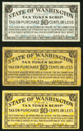 Trio of 1935 Washington Sales Tax Token Scrip Cardboard Chits Extremely Fine or Better. ... (Total: 3 notes)