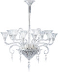 Lighting, Baccarat Glass Mille Nuits Twelve-Light Chandelier, late 20th-early 21st century. 44 x 35 x 35 inches (111.8 x 8... (Total: 3 Items)