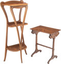 Furniture, Emile Gallé Marquetry Side Table and a Louis Majorelle-Style Marquetry Etagere, circa 1900. Marks to side table: Gallé ... (Total: 2 Items)