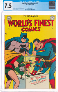 World's Finest Comics #45 (DC, 1950) CGC VF- 7.5 Off-white to white pages