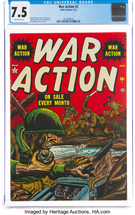 War Action #2 (Atlas, 1952) CGC VF- 7.5 Off-white pages....