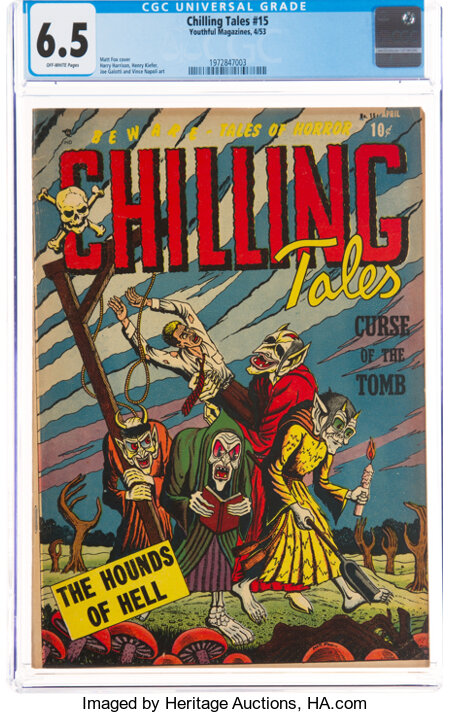 Chilling Tales #15 (Youthful Magazines, 1953) CGC FN+ 6.5 Off-white pages....