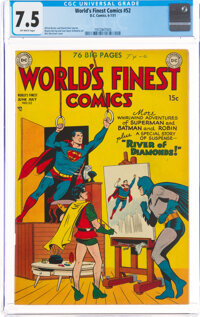 World's Finest Comics #52 (DC, 1951) CGC VF- 7.5 Off-white pages