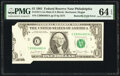 Error Notes, Butterfly Fold Error Fr. 1911-C $1 1981 Mule Federal Reserve Note. PMG Choice Uncirculated 64 EPQ.. ...
