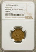 Civil War Merchants, 1863 Token George B. Ames Drugs, Belvidere, IL., Fuld-45A-1b, MS63 NGC....