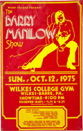Music Memorabilia:Posters, Barry Manilow 1975 Wilkes-Barre, PA Concert Poster....