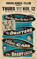 Music Memorabilia:Posters, The Drifters 1959 Boxing-Style Concert Poster w/Ben E. King Singing Lead. ...