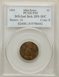 1912 1C Lincoln Cent -- Double Struck, Second Strike 20% Off Center -- Fine 15 PCGS. From The Errorpalooza Collection...