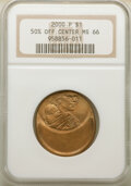 Errors, 2000-P $1 Sacagawea Dollar -- Struck 50% Off Center -- MS66 NGC. The strike is off center toward 12 o'clock (relative to th...
